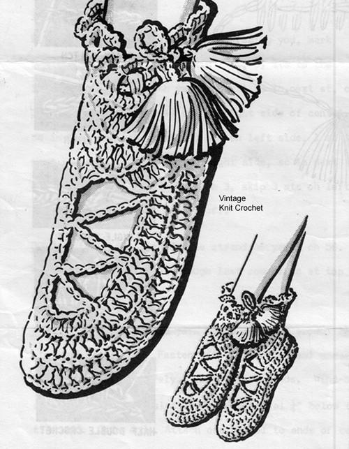 Crochet Slippers Pattern, Bed Socks, Anne Cabot 5756