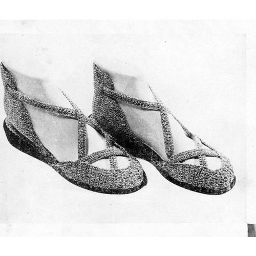 Sandal Slippers Crochet Pattern, Vintage 1950s