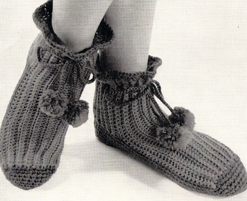 Vintage Crochet Boots Pattern with pompom ties from Vintage Knit Crochet Pattern Shop
