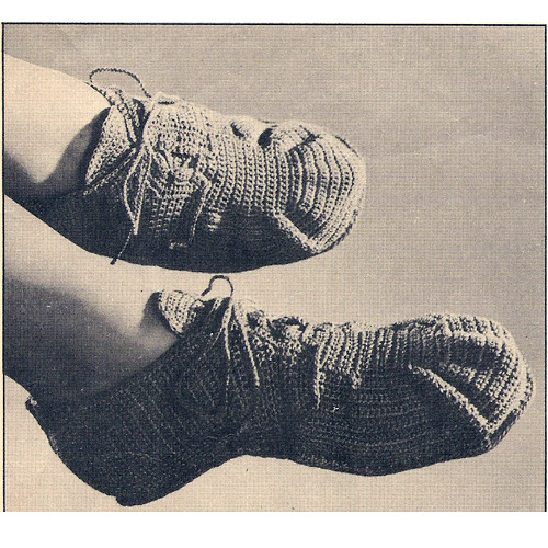 Vintage Crocheted Slippers Pattern, Good Housekeeping Leaflet