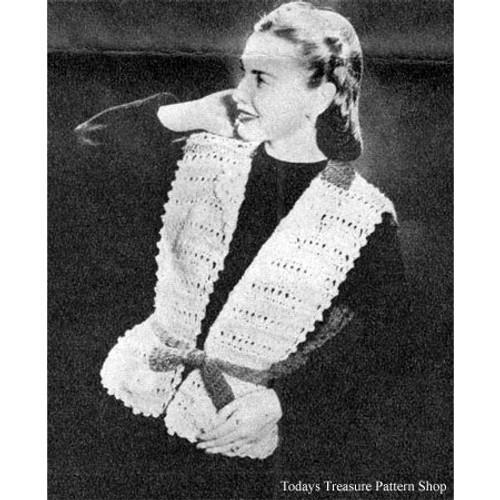 Vintage Crochet Vest Pattern waist tied