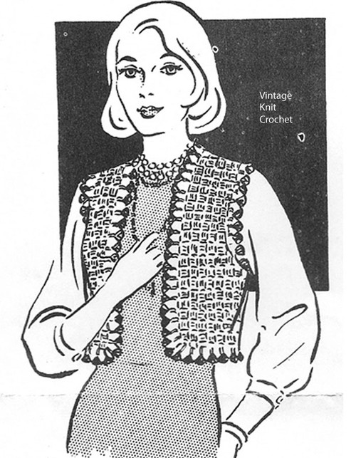 Womans crocheted vest pattern, Mail Order 1262