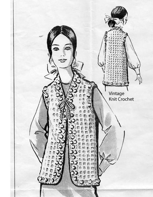 Filet Mesh Crocheted Vest Pattern No 5438