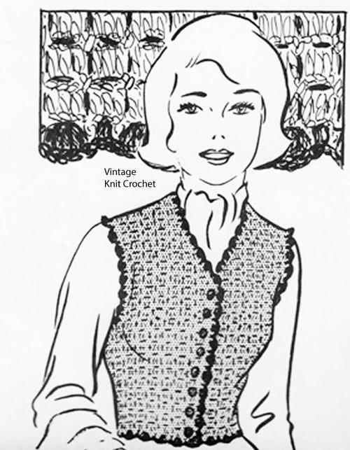 Crochet Vest Pattern, Plus Size, Martha Madison 1140