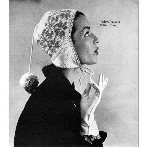 Vintage Knitting Pattern Embroidered hat with earflaps