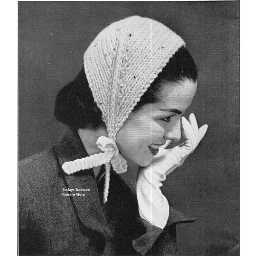 Knitted Head Scarf Pattern, Vintage 1950s