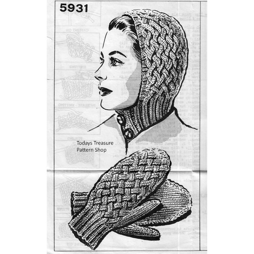 Mail Order Design 5531, Knitted Hat & Mittens