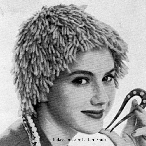 Vintage Knitted Wig Hat Pattern