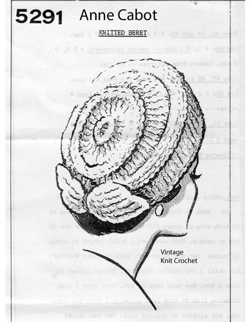 Knitted Beret Pattern, Back Bow, Anne Cabot 5291