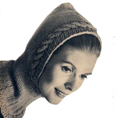 Cable Helmet Knitting Pattern, Vintage 1960s