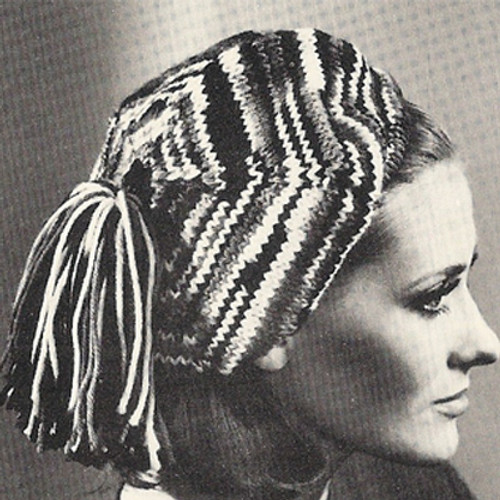 Vintage Knitted Beret Pattern, Striped with Tassels
