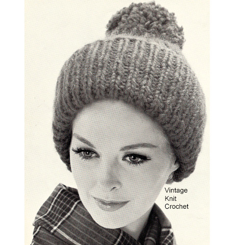 Ribbed Beanie Cap Knitting Pattern