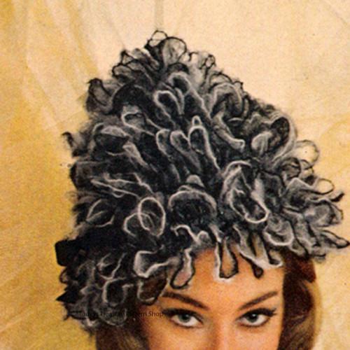 Crochet Mohair Pixie Hat Pattern, Vintage 1960s