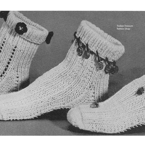 Knitted Slippers Socks Pattern No 3837