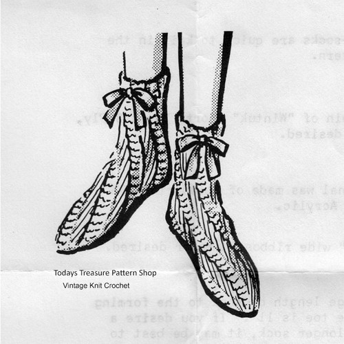 Vintage Bed Socks Knitting Pattern, Anne Cabot 5654