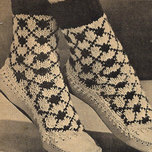 Free Knit High Top Slippers Pattern