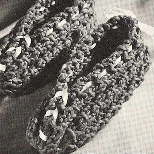 Knitting Pattern Easy Slippers, Vintage 1960s