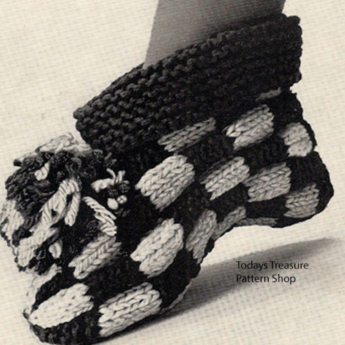Ankle Length Knitted Slippers Pattern