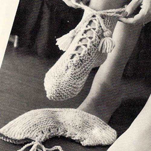 Slipper Boots Knitting Pattern, Vintage 1960s