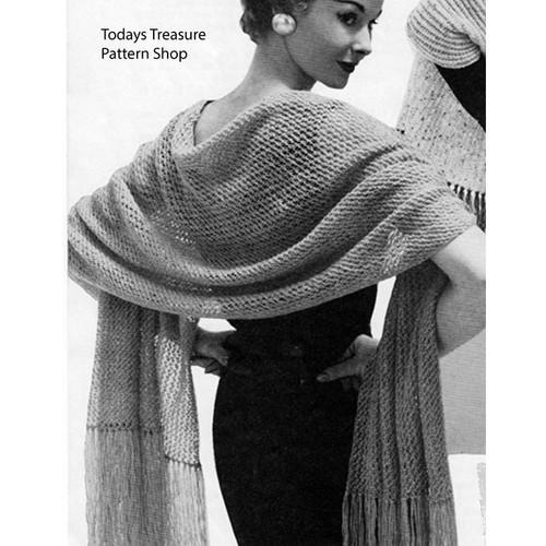 Free Long Lace Stole Knitting Pattern
