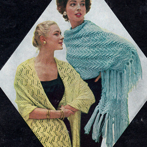Buttercup Stole Knitting Pattern, Vintage 1960s
