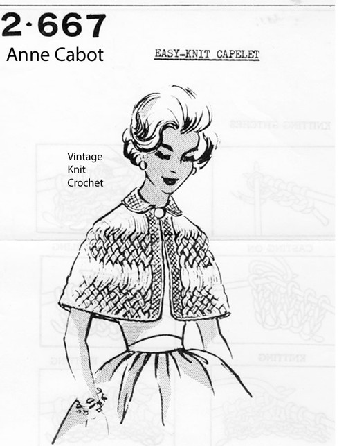 Knitted Capelet Pattern, Cable Stripes, Anne Cabot 2667