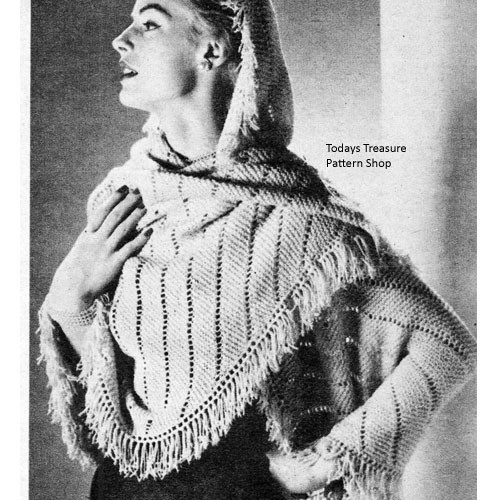 Fringed Shawl Knitting Pattern with Beads