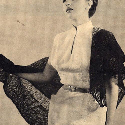 Vintage Knitting Pattern Mohair Square Shawl