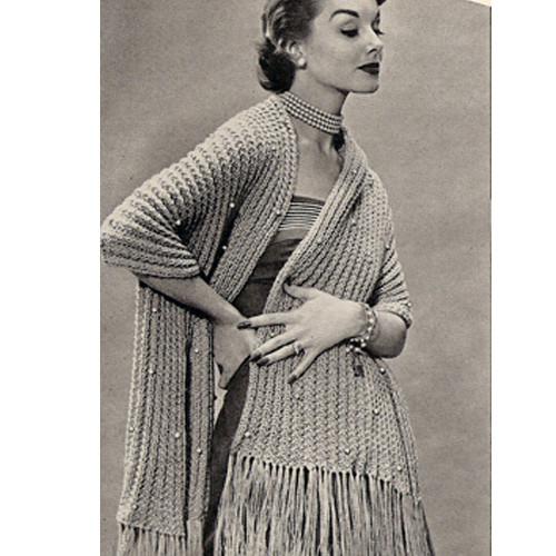 Vintage Knit Stole in Rib Stitch