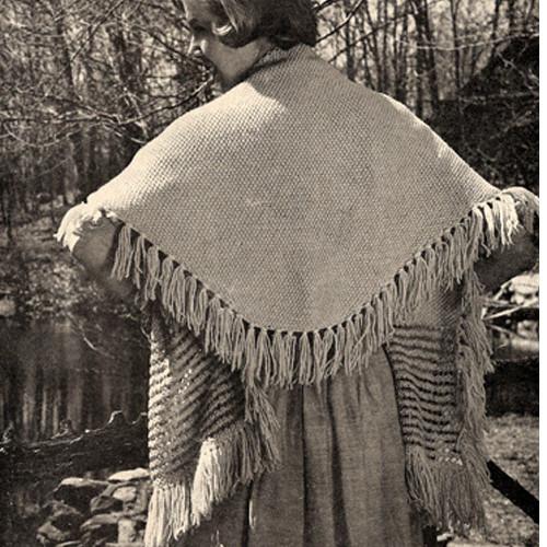 Hilde Stole Knitting Pattern, Triangular with Fringe