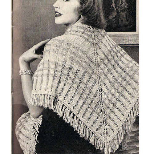 Knitting Pattern Fringed Triangle Stole