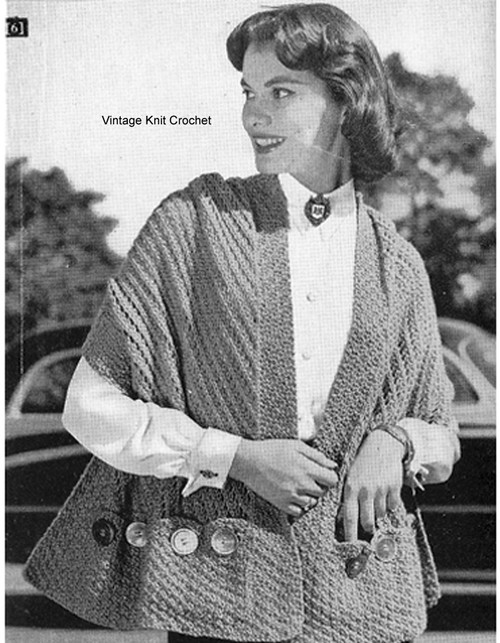Knitted Stole Pattern with Pockets, Vintage 1950s