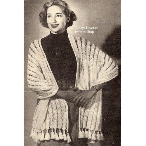 Long Zelta Stole Knitting Pattern, Vintage 1940s