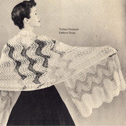 Vintage Ripple Lace Stole Knitting Pattern