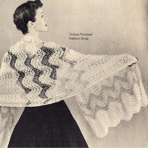 Vintage Ripple Lace Stole Knitting Pattern