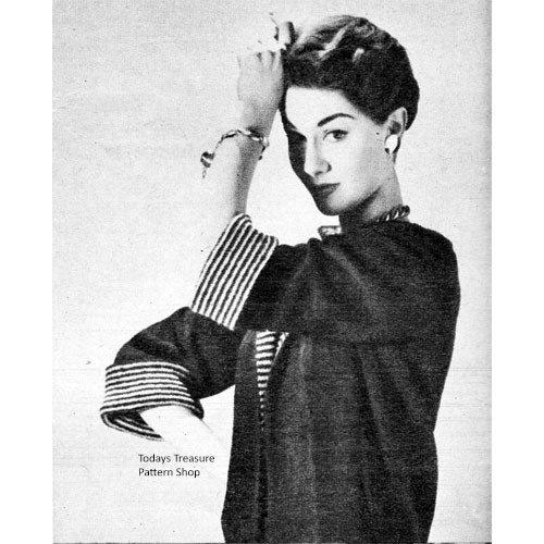 Vintage Knitted Jacket Pattern with Contrast Cuffs and Lapels