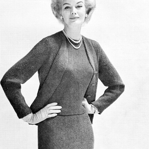 Three Piece Knitted Suit Pattern in Ungers Crosetta