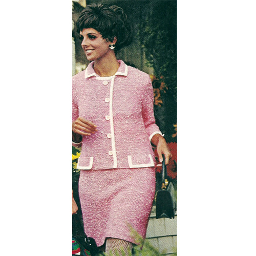 Knitted Dress Jacket Pattern with contrast trim