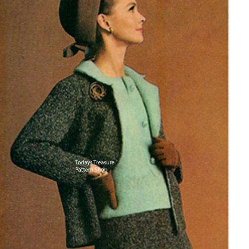 Knitting Jacket Suit Pattern, Vintage 1960s