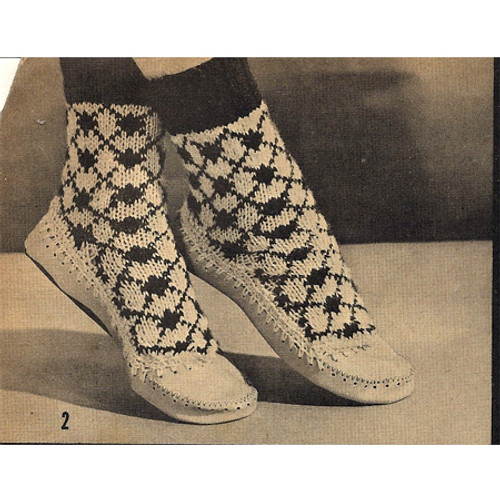 Free Knitting Pattern for Slipper Boots, Vintage 1950s