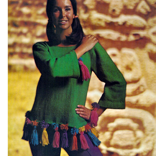 Free Vintage 1960's Knitting Pattern, Long Sleeve Pullover