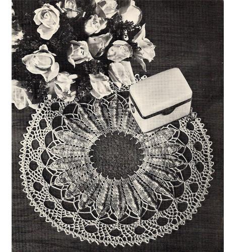 Crocheted Sunflower Doily Pattern, Vintage 1960s