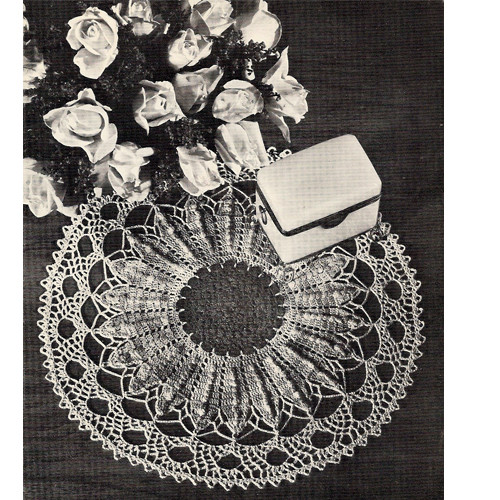 Crocheted Sunflower Doily Pattern, Vintage 1960s