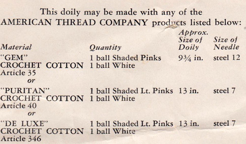 Thread Requirements for Crochet Pink and White Doily