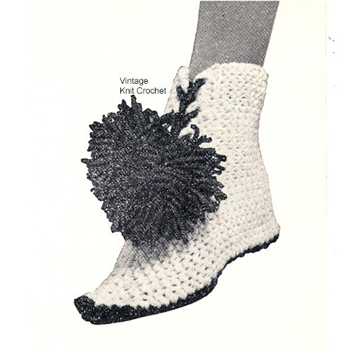 Knitted High Top Boots Pattern with pompon