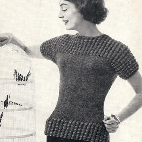 Knitting Pattern Short Sleeve Blouse in popcorn stitch