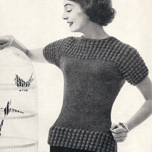 Knitting Pattern Short Sleeve Blouse in popcorn stitch