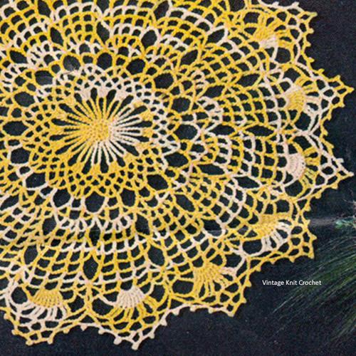 Vintage Yellow Crochet Spiderweb Doily Pattern