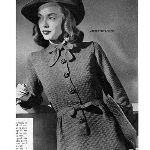 Long Sleeve Knitted Dress Pattern, Vintage 1944