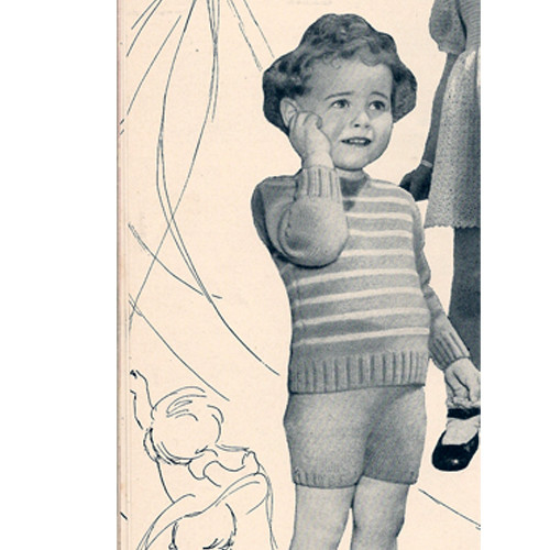 Vintage Childs Knitted Suit Pattern, Striped Top Shorts
